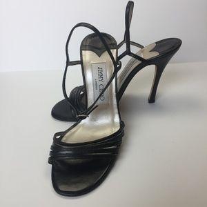 JIMMY CHOO Black Leather Heel Sandals 7.5M EUC